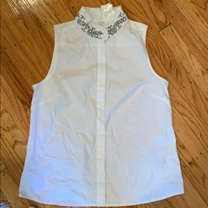 Jcrew white oxford tank with jeweled collar